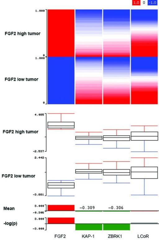 FGF2 expression is inversely correlated with KAP-1 and ZBRK1 expression in the TGCA data set of breast invasive carcinoma. (Top) Gene expression in breast invasive carcinoma was normalized to normal control tissue, and samples were gated for high and low expressions of FGF2, where red indicates upregulation and blue indicates downregulation. (Middle) Box-plot of this analysis of these samples demonstrates that the mean expression for KAP-1 and ZBRK1 relative to control tissue was inversely correlated with the expression of FGF2 in both sample populations. (Bottom) In samples that expressed high FGF2, the mean expression of KAP-1 and ZBRK1 was negative (values indicated on bar graph) relative to control tissue and statistically significant at P = 0.001 as determined by student's t-test.