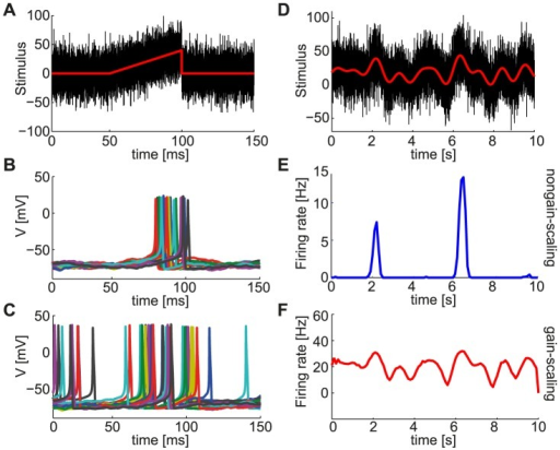 Stimulus encoding varies with the intrinsic properties of neurons.A. Noise fluctuations (black) superimposed on a short ramping input stimulus (red) with rise time of 50 ms were presented to two separate populations of 100 independent conductance-based model neurons with different gain-scaling properties. B,C. Voltage responses of (B) 100 NGS ( pS/µm2 and  pS/µm2) and (C) 100 GS neurons ( pS/µm2 and  pS/µm2) to the ramp input in A. The different colors indicate voltage responses of different neurons. D. Noise fluctuations with a correlation time constant of 1 ms (black) superimposed on a Gaussian input stimulus low-pass filtered at 500 ms (red) for a duration of 10 seconds were also presented to the two neuron populations. E,F. Population response (PSTH) of NGS (E) and GS (F) neurons to the input in D.