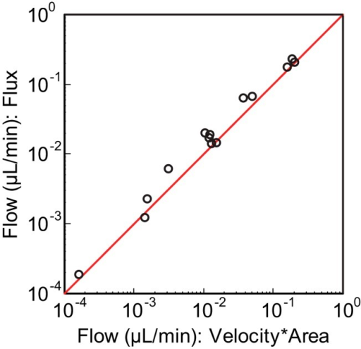 Blood flow calculated using two independent methods. Flow is calculated from fRBC flux (y-axis), and velocity and vessel cross-sectional area (x-axis). Each data point represents a single vessel. The red line represents unity.