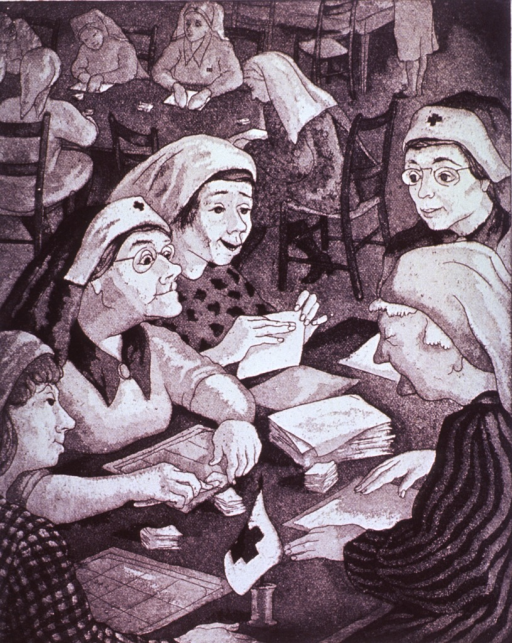 <p>A group of woman (Red Cross volunteers?) are sitting at a table preparing surgical bandages; in the background a similar scene is taking place.</p>