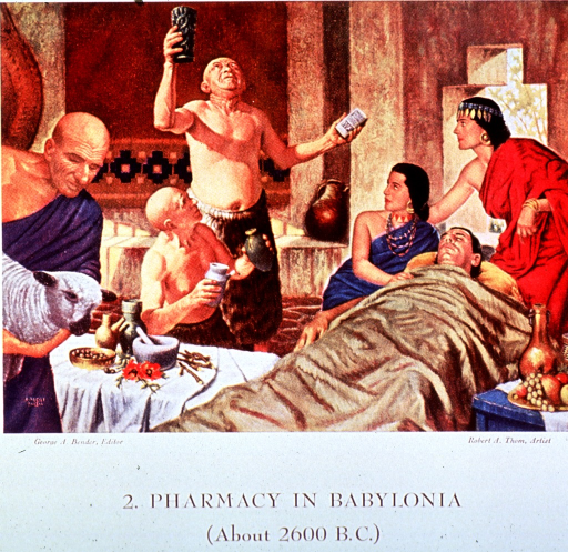 <p>Showing the medical practitioners (priest, pharmacist and physician) of Babylonian times:  one holding a clay tablet and invoking the gods; another preparing a mixture; and a third holding a sheep.  A table is set with apothecary paraphernalia.</p>