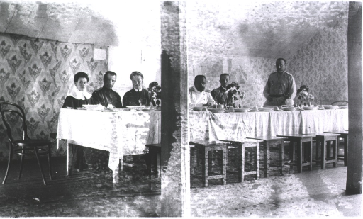 <p>Doctors and nurses eat at the Physician's Mess at Military Hospital No. 1.</p>