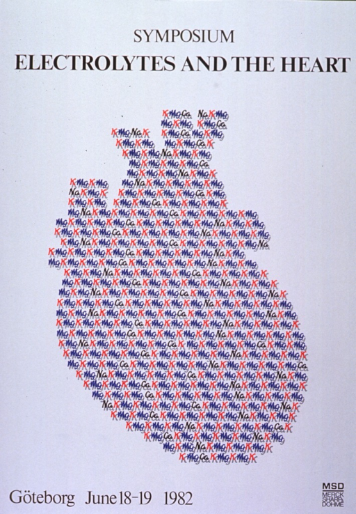 <p>White poster with black lettering announcing symposium in Goteborg, Sweden, June 1982.  Title at top of poster.  Central image on poster is an anatomically-shaped heart.  The heart is made from a repeating pattern of the chemical symbols K, Mg, Na, and Ca in red and blue, with gray shadowing.  Remaining text at bottom of poster.</p>