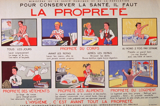 <p>Multicolor poster with black and red lettering.  Partial publisher information and title at top of poster.  Visual images are seven illustrations depicting children engaged in personal hygiene and household tasks including washing up, washing hands before meals, cleaning teeth after eating, bathing completely, doing laundry, washing vegetables, and opening a window in a clean room.  Text accompanying illustrations provides specific suggestions and rationale.  Caption and remaining publisher information at bottom of poster.  Caption indicates that hygiene is mostly about cleanliness.</p>