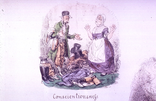 <p>A man standing in the midst of hats, boots, and coats is speaking with a woman who appears astonished.</p>