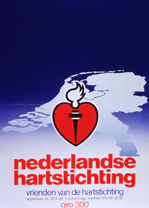 <p>Predominantly blue and white poster with multicolor lettering.  Visual image is a stylized heart with a torch superimposed on it, along with a map of the Netherlands in the background.  Title and note below image.  Note urges support of the heart foundation.</p>