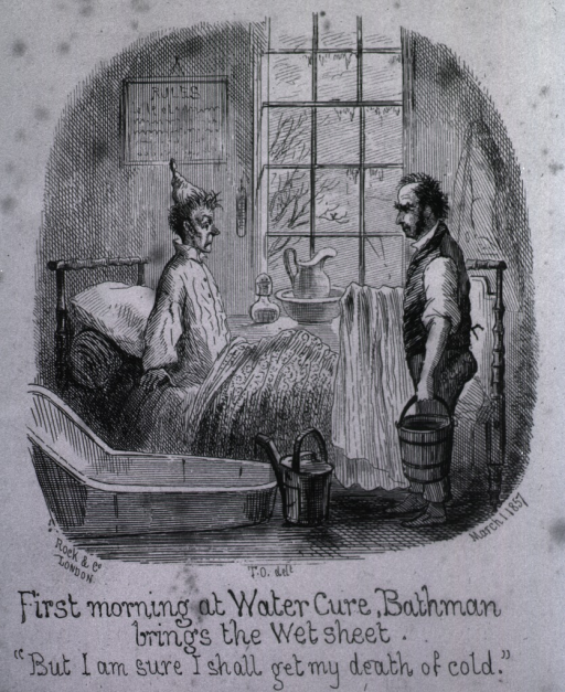 <p>Patient is sitting straight up in bed facing a man holding a bucket and a &quot;wet sheet&quot;; a bath tub and watering can are next to the bed.</p>