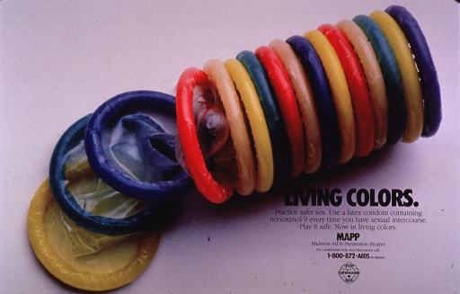 <p>Predominantly pale gray poster with black lettering.  Visual image is a color photo reproduction of a stack of brightly colored condoms.  Title, caption, and publisher information in lower right corner.</p>