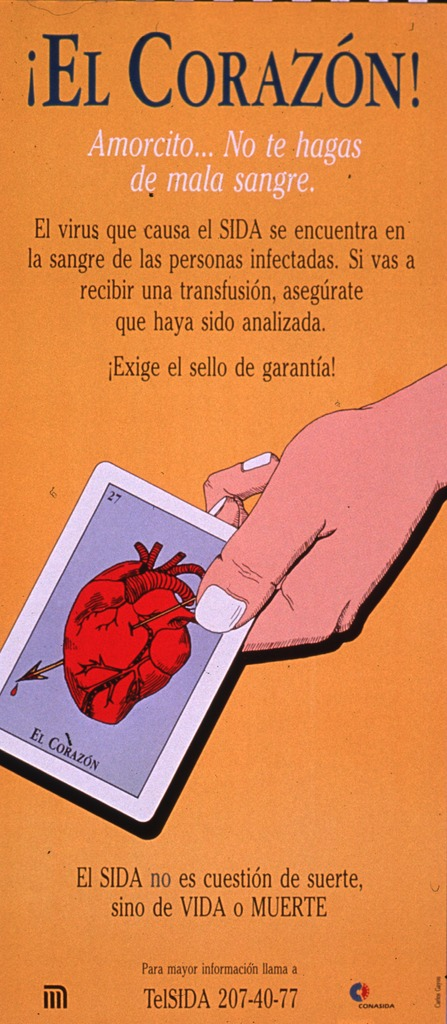 <p>Predominantly gold poster with multicolor lettering.  Title at top of poster.  Lengthy caption below title explains the ways in which AIDS is transmitted and encourages testing.  Visual image is an illustration of a hand holding a card suggestive of a tarot card; the card features a heart that has been pierced by an arrow.  Note below illustration states that AIDS is not a question of luck, just life or death.  Hotline number and publisher information at bottom of poster.</p>