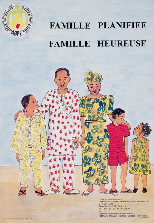 <p>Multicolor poster with black lettering.  Title at top of poster.  Visual image is an illustration of a five-member family.  Publisher information in lower right corner.</p>