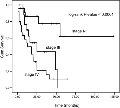 Overall survival for TNM stage I-II, III and IV for all patients (log-rank test P-value < 0.0001).