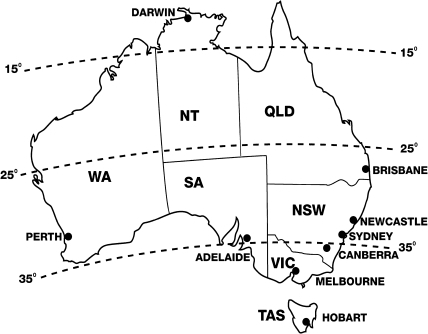 Commonwealth of Australia in 1981 by state : Queensland (QLD), New South Wales (NSW), Victoria (VIC), South Australia (SA), Western Australia (WA), Tasmania (Tas) and Northern Territory (NT). Canberra (Federal Capital Territory), is geographically surrounded by NSW. Major cities are shown
