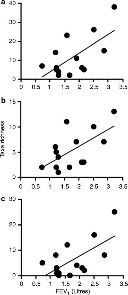 The relationships between bacterial taxa richness and lung function (FEV1 in litres) for (a) the whole metacommunity, (b) the core group and (c) the satellite group. In each case linear regression lines have been fitted. For the whole metacommunity, r2=0.43, F1,12=9.2, P<0.01; core group, r2=0.40, F1,12=7.82, P<0.02; and satellite group, r2=0.42, F1,12=8.67, P<0.01.