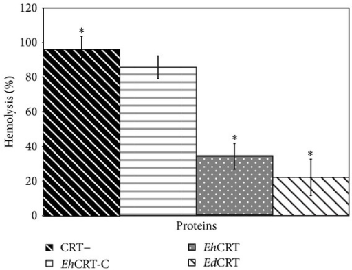 EhCRT inhibits classical pathway-mediated hemolysis. Different proteins of (CRT+) EhCRT or EdCRT; (CRT−) BSA or EhCRT-C was added to 1 : 10 dilution of NHS (as source of C1q), incubated 30 min at 37°C, and then added to 108 cell/mL of EA; the mixtures were incubated for 60 min at 37° C. After centrifugation, the OD (550 nm) of the supernatants was measured. The percentage of lyses was calculated using as reference the 100% lyses of erythrocytes in water. Values are the mean of three independent experiments ± SD. Differences between groups ∗ were compared through ANOVA test detecting statistical significance (P = 0.05).