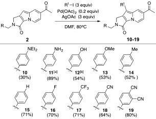 Late‐stage modification of Seoul‐Fluors with diverse R1 substituents by a cross‐coupling reaction involving palladium‐mediated C—H activation. The yields given are for the isolated product. [a] Compound 11 was obtained by the reduction of the nitrophenyl compound. [b] Compound 12 was obtained by deprotection of the tert‐butyldimethylsilyl‐protected hydroxyphenyl compound. DMF=N,N‐dimethylformamide.