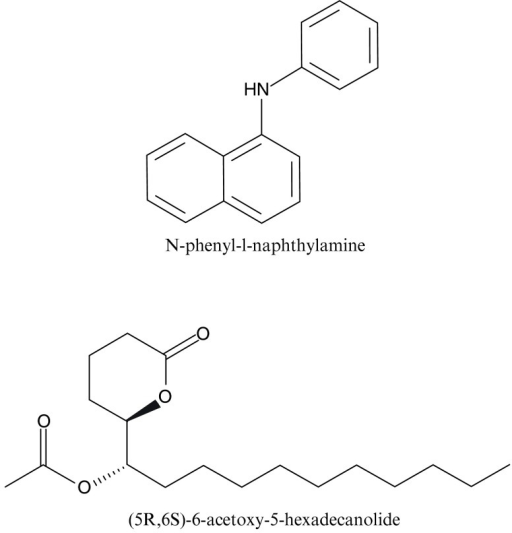 Structures of a fluorescence reporter and a mosquito oviposition pheromone.N-phenyl-1-naphthylamine (NPN) is widely used in binding assays with insect OBPs. (5R,6S)-6-acetoxy-5-hexadecanolide (MOP) is an attractant first isolated from eggs ofCx. quinquefasciatus37, but it is known to bind not only to CquiOBP1, but also to its orthologous proteins, i.e., AaegOBP1 and AgamOBP119.
