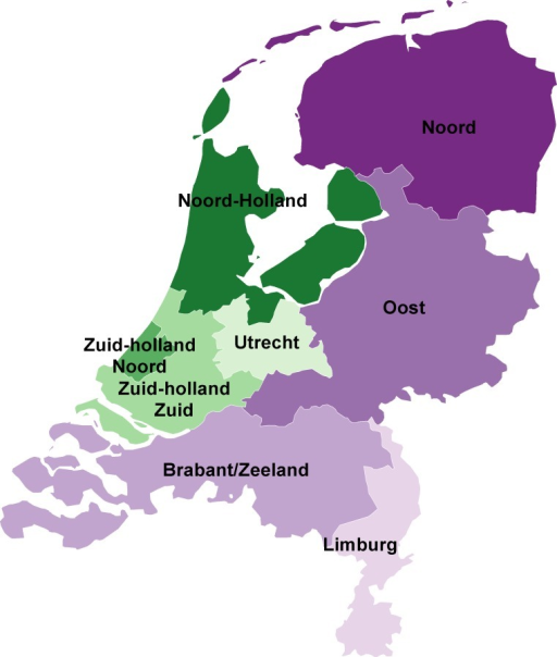 Regions for sexual health care in the Netherlands.Purple areas indicate the more rural regions, green areas indicate the more urban regions.