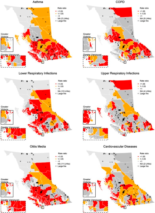 Maps of point estimates for association between a 10 μg/m3 increase in modeled PM2.5 and physician visits for LHAs during extreme fire days. The background color is coded by the values of point estimates and the insets show the major urban areas of Greater Vancouver and Victoria.