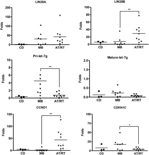 Relative expression of mRNAs and miRNAs in cortical dysplasia (CD), medulloblastoma (MB) and AT/RT clinical samples. The relative expression of LIN28A, LIN28B, pri-let-7g, mature let-7g, CCND1, CDKN1C and MYC was detected using RT-qPCR. The levels of Lin28B and CCND1were upregulated, while the levels ofpri-let-7g, and CDKN1C were significantly down-regulated in AT/RT. The expression of LIN28B, rather than LIN28A, is more represented in AT/RT compared with CD and MB. *P < 0.05; **P < 0.01. Error bars represent ±SD