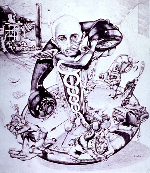 <p>Surrealistic representation of a physician with a caduceus body, a telephone receiver over his shoulder, and standing on a time piece with human hands at the hours holding representations of procedures performed by general practioners.</p>