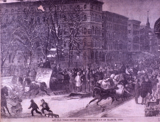 <p>Exterior view: the trees are bare; horse drawn sleighs fill the street; two children are pulling a sled; the sidewalks are crowded with people; the steeple of Trinity Church is in the background.</p>