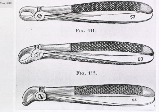 <p>Three pairs of pliers with slight differences in the design of the jaw.</p>