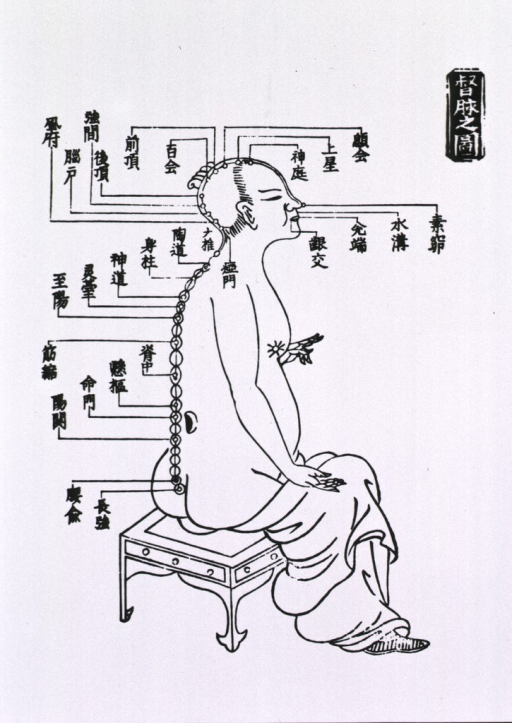 <p>Human figure seated, right profile with acupuncture points indicated.</p>