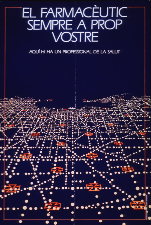 <p>Blue poster with white lettering.  Title at top of poster.  Background for initial title phrase makes it seem as though the letters glow.  Visual image is an abstract design of cream dots and red outlines of Maltese crosses.  The effect is suggestive of street lights and landmarks as viewed from an airplane flying fairly close to the ground.  Artist's name near lower right corner.</p>