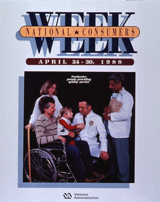 <p>Predominantly white poster with multicolor lettering.  Title at top of poster.  Visual image is a color photo reproduction featuring a man sitting in a wheelchair.  He holds a young girl on his lap and they are surrounded by three healthcare workers.  Caption superimposed at top of photo.  Publisher information at bottom of poster.</p>