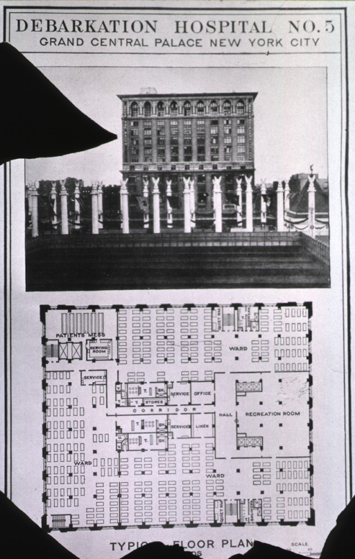 <p>Exterior view of hospital and a typical floor plan.</p>