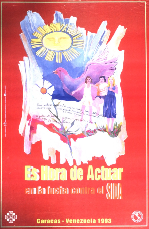 <p>Three people are to the right of the image, with a large purple dove behind them.  A daisy grows to the left on the image, and there is a large sun over it.  The picture caption is written across the picture.</p>