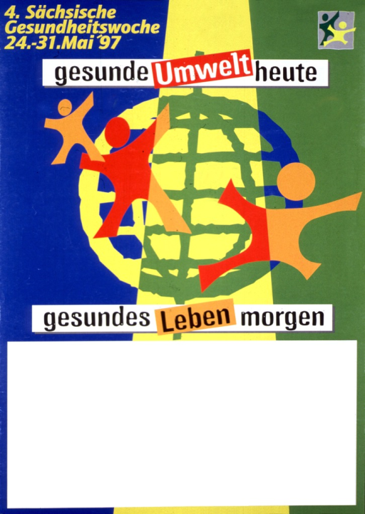 <p>Blue, yellow, and green are the dominant background colors of the poster. The center of the visual image is a generic-looking globe with three generic-looking human figures superimposed on top of it. The human like figures are in shades of orange and red. A large, white, rectangular area takes up about 1/3 of the poster. Note above title.</p>