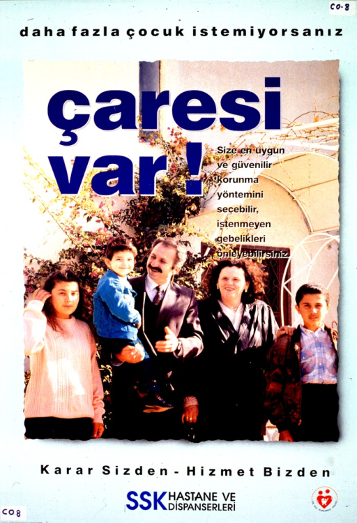 <p>Pale turquoise poster with multicolor lettering.  Title at top of poster.  Title deals with the concept of too many children, demands, and a solution.  Visual image is a color photo reproduction featuring a five-member family standing in front of a flowering shrub.  Caption and publisher information below photo.</p>