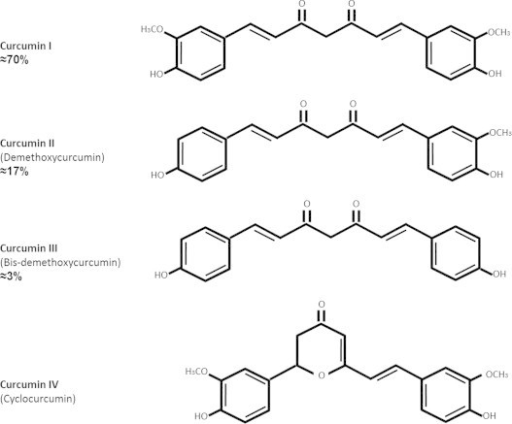 Chemical structures and abundance of curcuminoids in turmeric that have terapeutic effects.