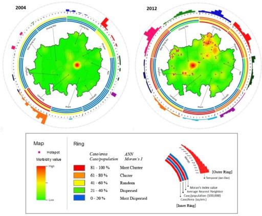 Spatio-temporal ring map: The inner ring shows the spatial distribution of hotspots and morbidity; the outer ring shows the temporal distribution.