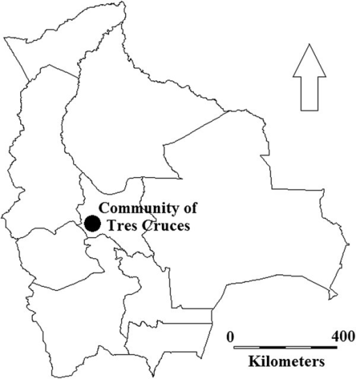Research area. The research was conducted in the indigenous ruralcommunity of Tres Cruces (2,760–3,830 m.a.s.l.) in the province ofTapacarí, department of Cochabamba, Bolivia. Map elaborated with DIVA-GIS [40].