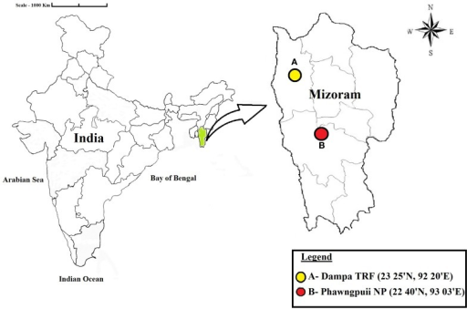 Map showing the locations of the sampling sites. Dampa Tiger Reserve forest and Phawngpuii National Park, Mizoram, India.