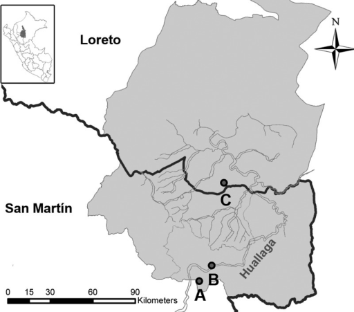 Map of Alto Amazonas in the northern Peruvian Amazon basin. Map shows the three sites (A, B, and C) where military personnel undertook short-term survival training. Dark lines show the border between the San Martin and Loreto departments and blue lines show river beds. Global positioning system (GPS) coordinates were intentionally removed for being considered sensitive information.