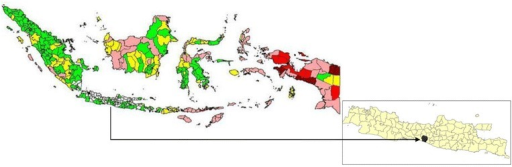 Malaria endemicity map of Indonesia in 2010. Annual parasite incidence in each district was stratified as malaria free (white), low case incidence/LCI (API <1%, green), middle case incidence/MCI (API 1–5 per 1,000 population, yellow), high case incidence/HCI I (API 5–49 per 1,000 population, pink), high case incidence/HCI II(API 50–100 per 1,000 population, red), and high case incidence III/HCI III (API >100%, dark red) (Source DitJen P2PL RI, 2010). Inset is Java island, the area in black is the study area, Purworejo.