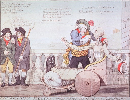 <p>Caricature:  Showing William Pitt at Bath, England, being forced to drink the water of oblivion.</p>