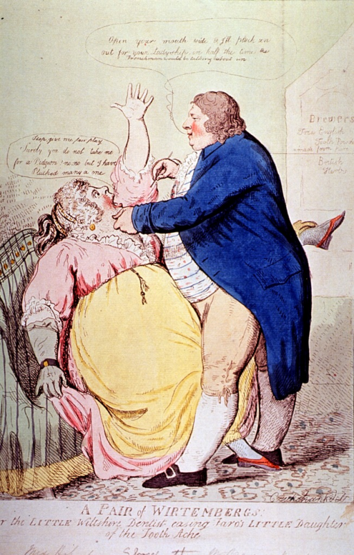 <p>A stout woman (Lady Buckinghamshire), seated, recoils in fear from an equally stout dentist who stands before her, left hand on her chin and holding a dental instrument in his right hand. In fact, a satire on gambling among English aristocracy.</p>