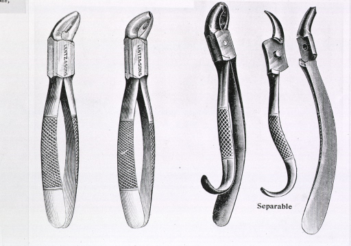 <p>Three pairs of pliers with slight modifications to the jaw; one pair, described as &quot;Separable,&quot; is also shown with the component parts separated.</p>
