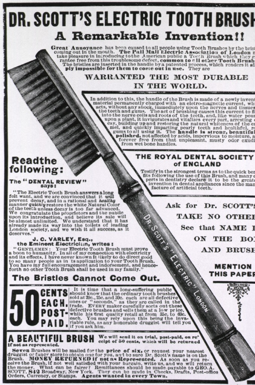 <p>Dr. Scott's electric toothbrush...advertisement for toothbrush with static electricity characteristics.</p>