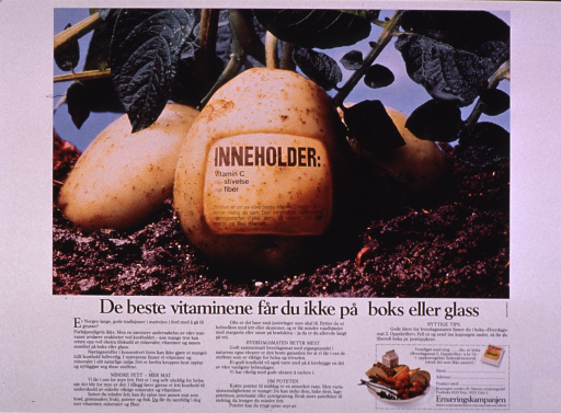 <p>Predominantly white poster with black lettering.  Visual image is a color photo reproduction featuring some potatoes, one of which bears a contents label.  Title below photo.  Additional text discusses healthy food choices and the nutritional benefits of potatoes.  A brochure is offered.  Publisher information in lower right corner.</p>