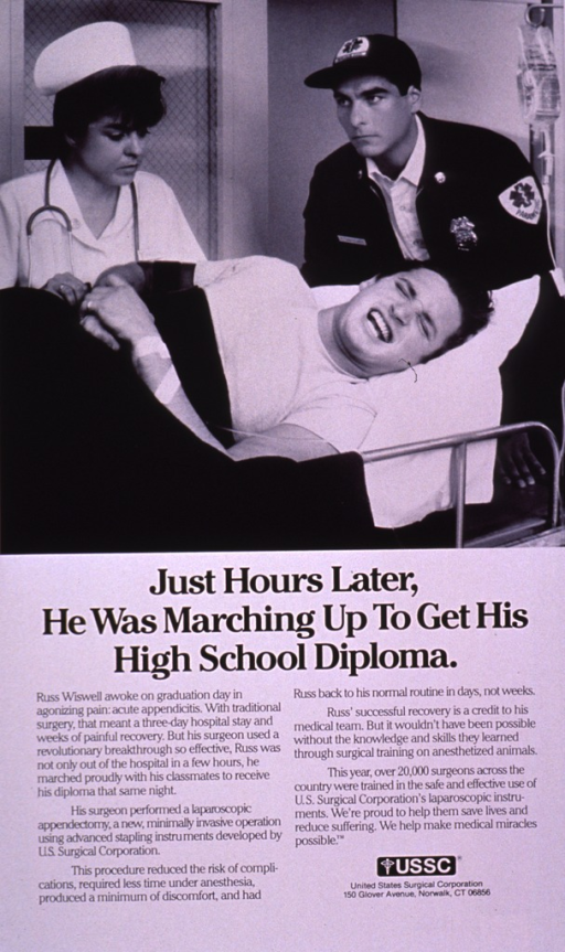 <p>Predominantly white poster with black lettering.  Visual image is a b&amp;w photo reproduction depicting a young man on a stretcher.  A paramedic and a nurse attend to him as he grimaces.  Title and caption below photo.  Publisher information near lower right corner.</p>