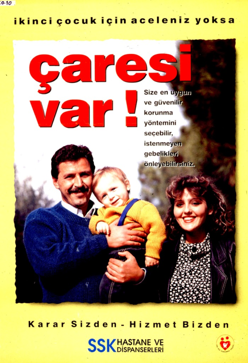 <p>Bright yellow poster with multicolor lettering.   Title at top of poster.  Title deals with the ideas of a second child, time interval, and a solution.  Visual image is a color photo reproduction showing a three member family.  Caption and publisher information below photo.</p>