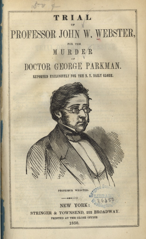 <p>Image of title page from pamphlet, includes portrait of &quot;Professor Webster&quot;.</p>