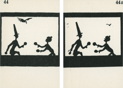 <p>A pair of strabismus diagnostic and exercise cards in black and white.  The card to the left, 44, has the image of 2 men playing maracas, with a bird flying very close over the man with a tall hat on the left; the card to the right, 44a, has the image of 2 men playing maracas with two birds flying in the distance close to the two top corners. Stereoskopische Bilder fur schielende Kinder.</p>