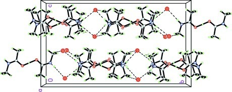 A view of the packing of the title compound, showing the hydrogen-bonded chain extension along the b axis. Dashed lines indicate hydrogen bonds.