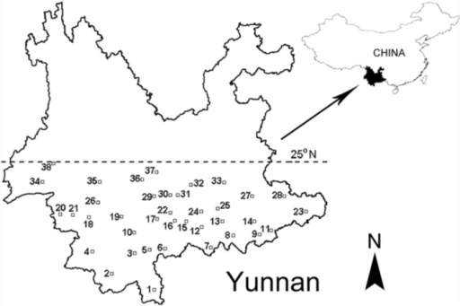 Geographic distribution of the 38 field sites surveyed in southern Yunnan. The numbers of field sites correspond to those given in Table 1. High quality figures are available online.